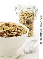 chocolate cornflakes and almonds muesli or granola