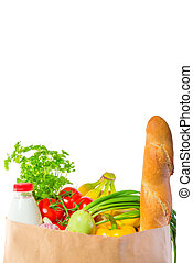 delicious and healthy food in a paper bag
