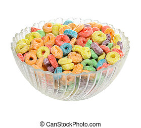 Delicious and nutritious fruit cereal loops flavorful isolated on a white background, healthy and funny addition to kids breakfast