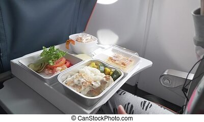 Delicious and varied dinner onboard Aeroflot Russian Airlines stock footage video