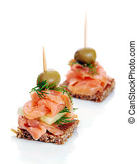 Delicious Appetizer Plate with Salmon and Olives