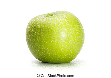 Delicious appetizing beautiful fresh green apple isolated on a white background.