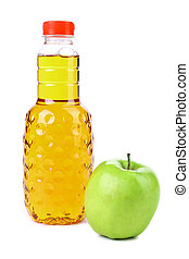 Delicious apple juice in plastic bottle. White background.