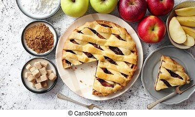 Delicious apple pie cake with a fresh fruits, brown and...