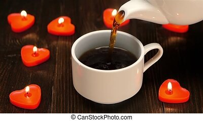 Delicious aromatic coffee at the breakfast for a loved one,...
