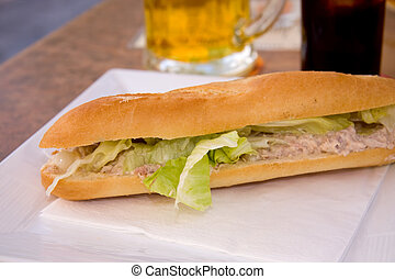 baguette with tuna salad