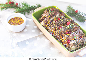 Delicious baked meat with cranberry and spices - Christmas...