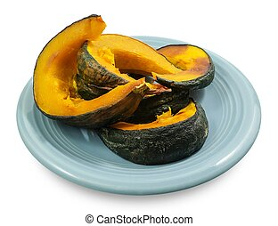 Delicious Baked Slices of Pumpkin on Dish