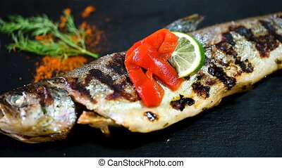 baked trout fish - Delicious baked trout fish served with ...