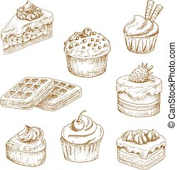 Delicious bakery and pastries sketches - Sweet delicious...