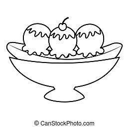 delicious banana split icon vector illustration design
