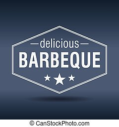 delicious barbeque hexagonal white vintage retro style label