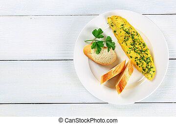 delicious basic French omelette with greens