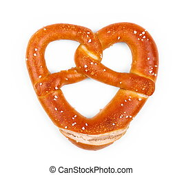 Delicious Bavarian pretzel in heart shape, isolated