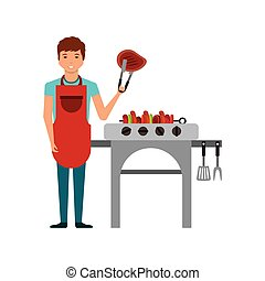 delicious bbq design - cartoon man with barbecue grill and ...