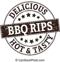 delicious BBQ rips pork stamp