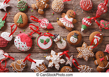 Delicious beautiful Christmas gingerbread cookies. horizontal top view