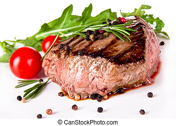 Delicious beef steak, medium grilled. Isolated on white ...