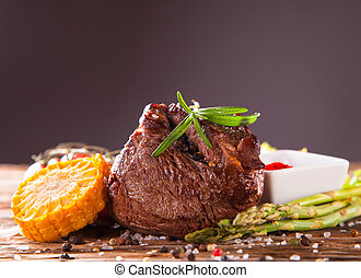 steak - Delicious beef steaks with fresh vegetable and...