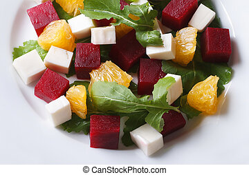 Delicious beet salad with oranges and cheese. Horizontal top vie