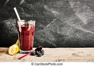 Delicious berry smoothie with copy space