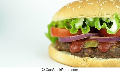 Delicious big hamburger 1920 x 1080p HD video