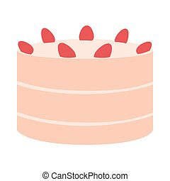delicious birthday cake on white background