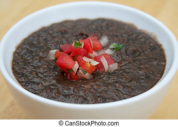 Black Bean Soup - Delicious Black Bean Soup in a White Bowl