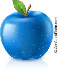 Delicious blue apple. Illustration on white background