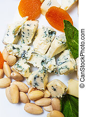 Delicious blue cheese with almond nuts and dried kuraga ...