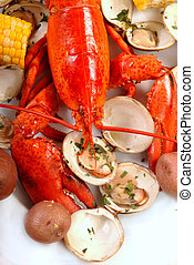 Delicious boiled lobster dinner - Boiled lobster dinner with...