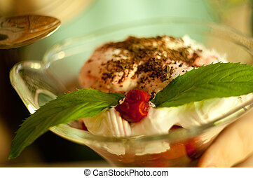Delicious bowl of cherry ice cream