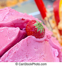 Delicious bowl of strawberry ice cream