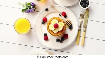 Delicious breakfast food composition - From above shot of...