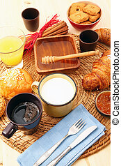 breakfast on rustic wooden table