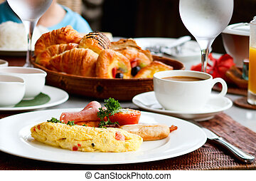 Delicious breakfast - Delicious omelette with vegetables...
