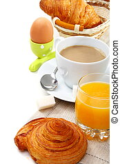 Delicious breakfast with croissants.
