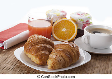 Delicious breakfast with croissants