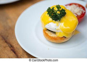 Delicious breakfast with eggs Benedict
