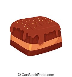 delicious brownie chocolate isolated icon vector...
