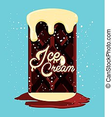 delicious brownie with ice cream vector illustration design