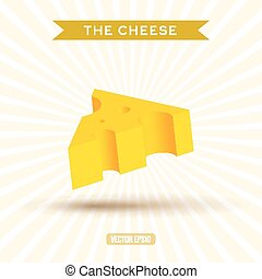 Delicious bulk cheese on a white background with rays, abstract vector art illustration, 3d