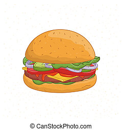 Delicious burger isolated on white background. Drawing of tasty hamburger or cheeseburger with meat patty, cheese and vegetables. Appetizing fast food meal. Colorful realistic vector illustration.