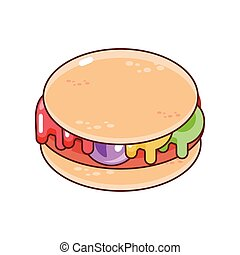 delicious burger on white background