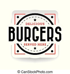Delicious burger stamp vintage