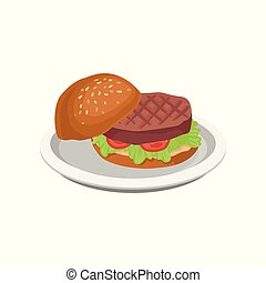 Delicious burger with grilled meat vector Illustration on a white background