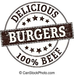 delicious burgers 100% beef stamp