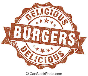 delicious burgers brown grunge stamp