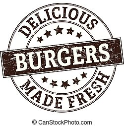 delicious burgers made fresh stamp