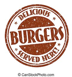 Delicious burgers sign or stamp